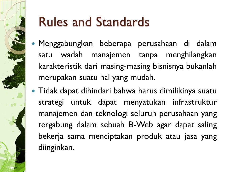 Rules and Standards Menggabungkan beberapa perusahaan di dalam satu wadah manajemen tanpa menghilangkan karakteristik dari masing-masing bisnisnya bukanlah merupakan suatu hal yang mudah.