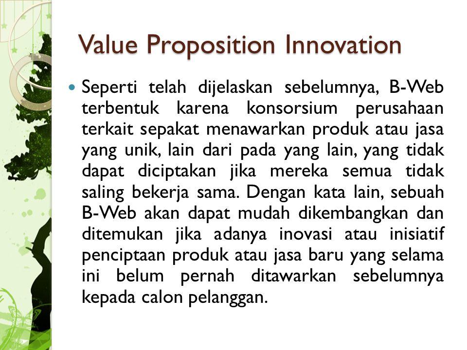 Value Proposition Innovation Seperti telah dijelaskan sebelumnya, B-Web terbentuk karena konsorsium perusahaan terkait sepakat menawarkan produk atau jasa yang unik, lain dari pada yang lain, yang tidak dapat diciptakan jika mereka semua tidak saling bekerja sama.
