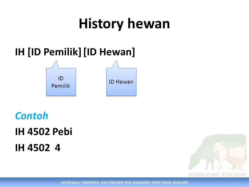 AUSTRALIA INDONESIA PARTNERSHIP FOR EMERGING INFECTIOUS DISEASES History hewan IH [ID Pemilik] [ID Hewan] Contoh IH 4502 Pebi IH 4502 4 ID Pemilik ID