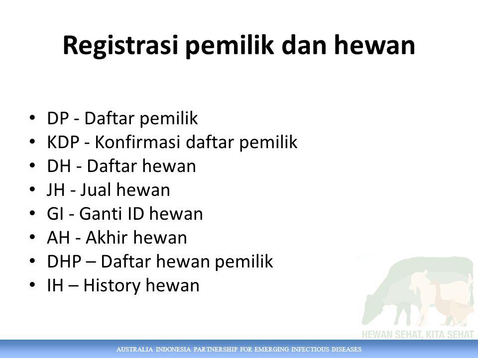 AUSTRALIA INDONESIA PARTNERSHIP FOR EMERGING INFECTIOUS DISEASES Registrasi pemilik dan hewan DP - Daftar pemilik KDP - Konfirmasi daftar pemilik DH -
