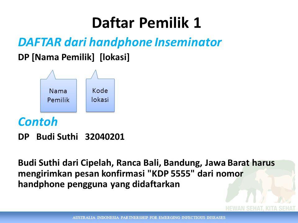 AUSTRALIA INDONESIA PARTNERSHIP FOR EMERGING INFECTIOUS DISEASES DAFTAR dari handphone Inseminator DP [Nama Pemilik] [lokasi] Contoh DP Budi Suthi 320