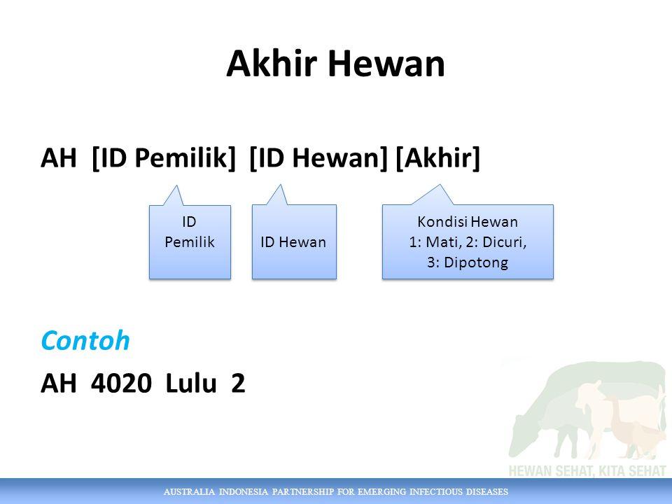 AUSTRALIA INDONESIA PARTNERSHIP FOR EMERGING INFECTIOUS DISEASES Akhir Hewan AH [ID Pemilik] [ID Hewan] [Akhir] Contoh AH 4020 Lulu 2 ID Pemilik ID He