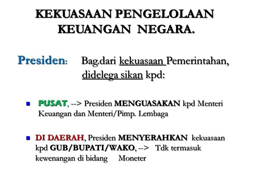 Pasal 19 Ayat 1 UU No.1/2004 Pembayaran atas tagihan yang menjadi beban APBN dilakukan oleh Bendahara Umum Negara/Kuasa Bendahara Umum negara