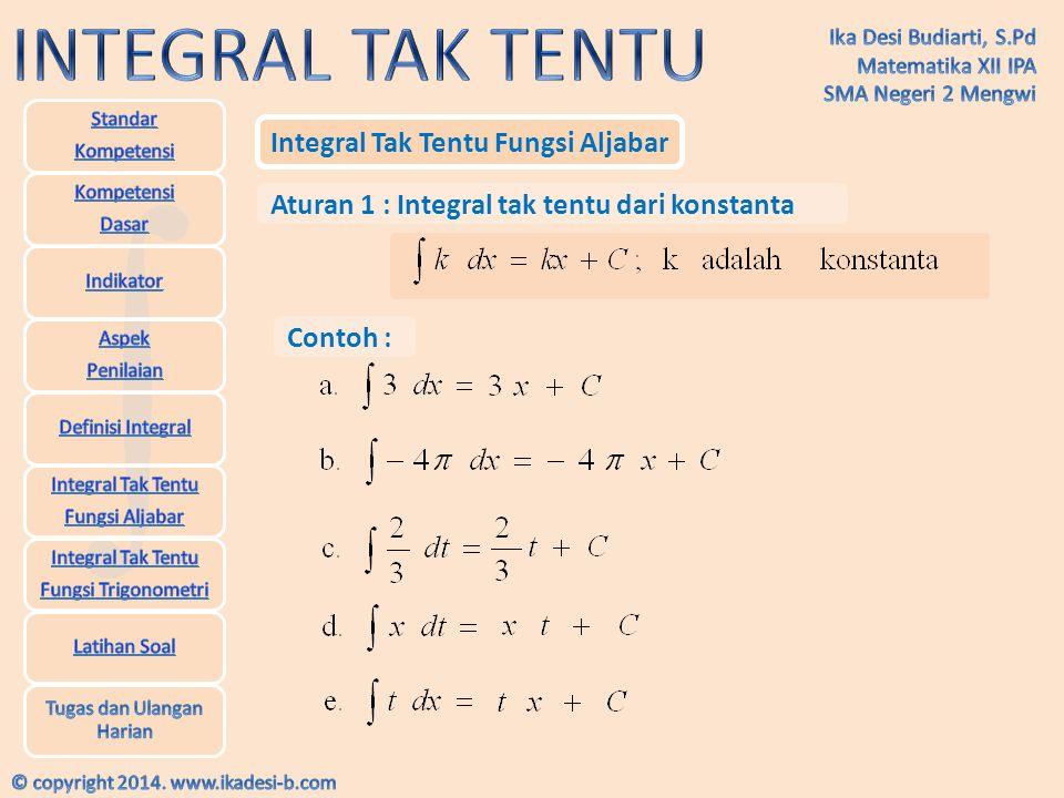 Integral Tak Tentu Fungsi Aljabar Aturan 2 : Integral tak tentu dari fungsi pangkat Contoh :