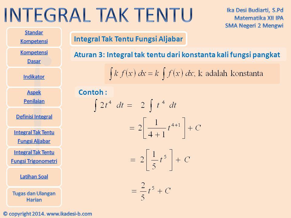 Integral Tak Tentu Fungsi Aljabar Aturan 3: Integral tak tentu dari konstanta kali fungsi pangkat Contoh :