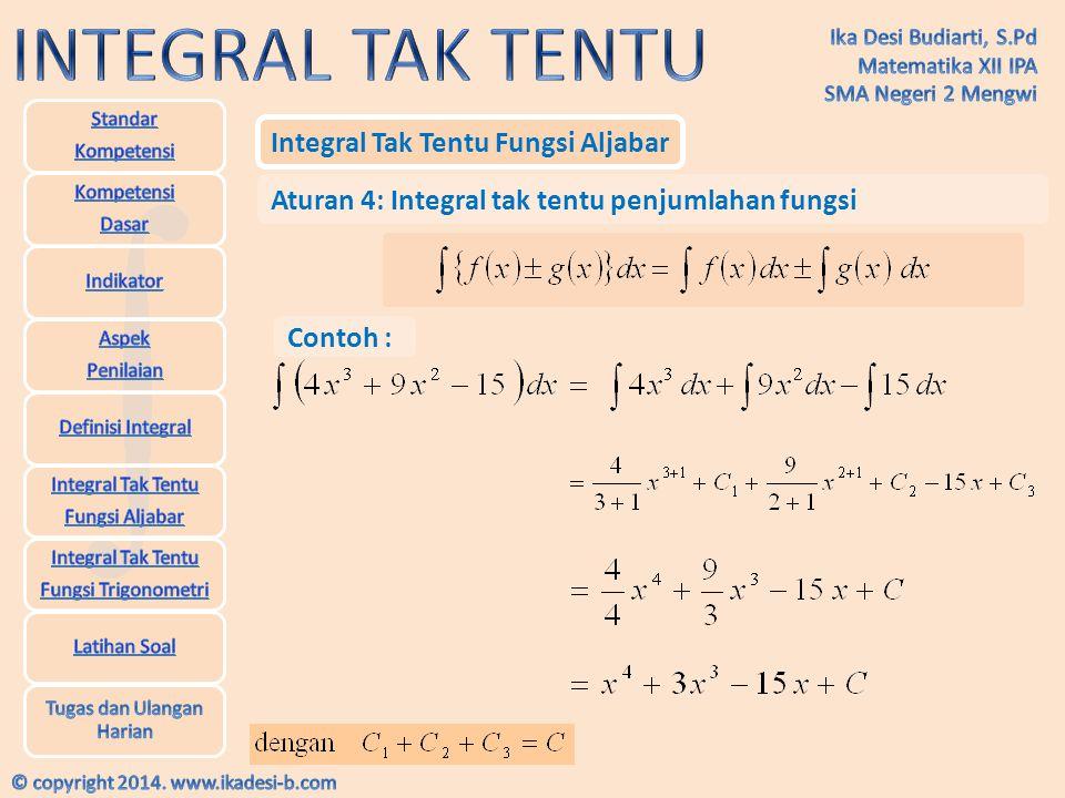 Integral Tak Tentu Fungsi Trigonometri Rumus Utama Integral Trigonometri Contoh :