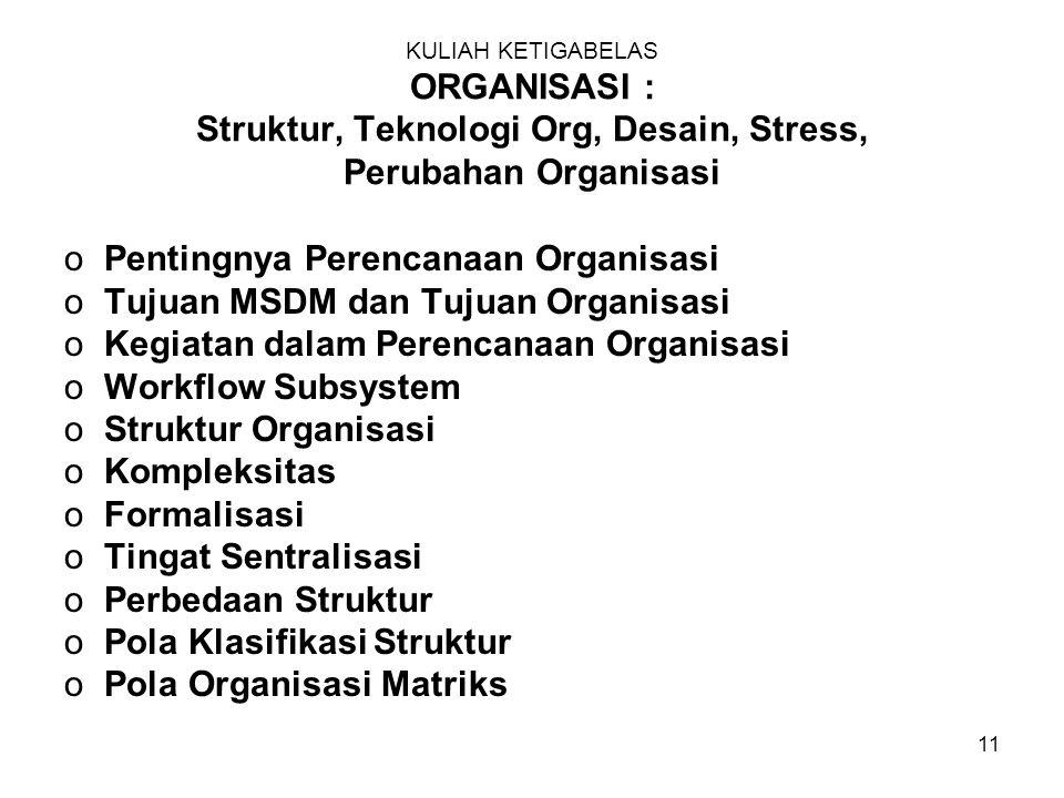 11 KULIAH KETIGABELAS ORGANISASI : Struktur, Teknologi Org, Desain, Stress, Perubahan Organisasi oPentingnya Perencanaan Organisasi oTujuan MSDM dan Tujuan Organisasi oKegiatan dalam Perencanaan Organisasi oWorkflow Subsystem oStruktur Organisasi oKompleksitas oFormalisasi oTingat Sentralisasi oPerbedaan Struktur oPola Klasifikasi Struktur oPola Organisasi Matriks