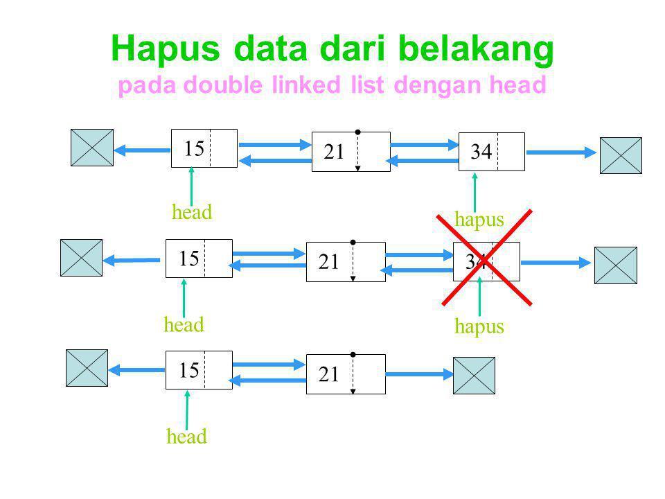 Hapus data dari belakang pada double linked list dengan head 15 head 21 34 15 head 21 34 hapus 15 head 21 hapus