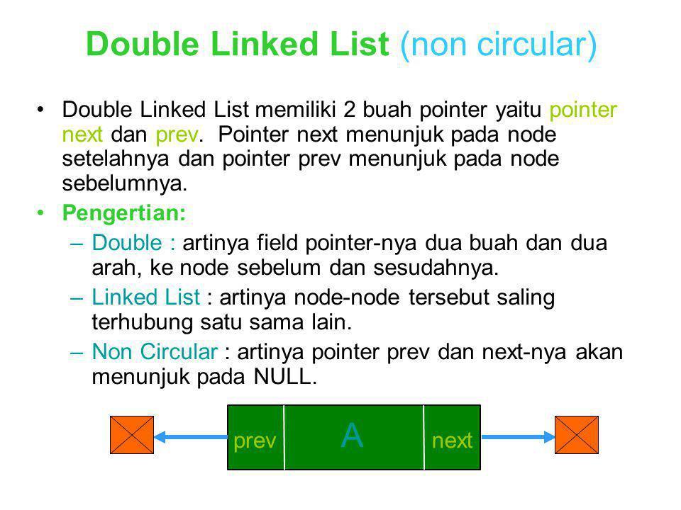 Double Linked List (non circular) Double Linked List memiliki 2 buah pointer yaitu pointer next dan prev. Pointer next menunjuk pada node setelahnya d