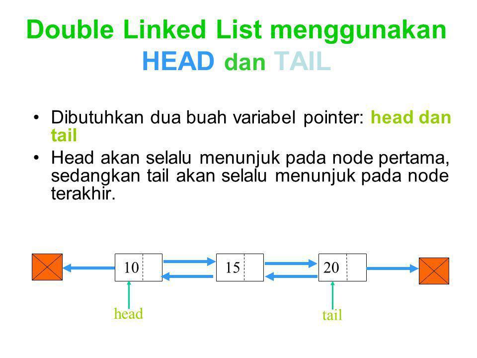 Double Linked List menggunakan HEAD dan TAIL Dibutuhkan dua buah variabel pointer: head dan tail Head akan selalu menunjuk pada node pertama, sedangka