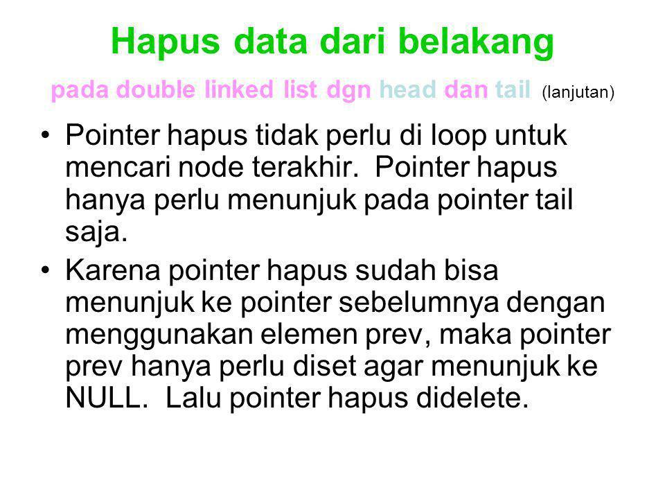 Hapus data dari belakang pada double linked list dgn head dan tail (lanjutan) Pointer hapus tidak perlu di loop untuk mencari node terakhir. Pointer h