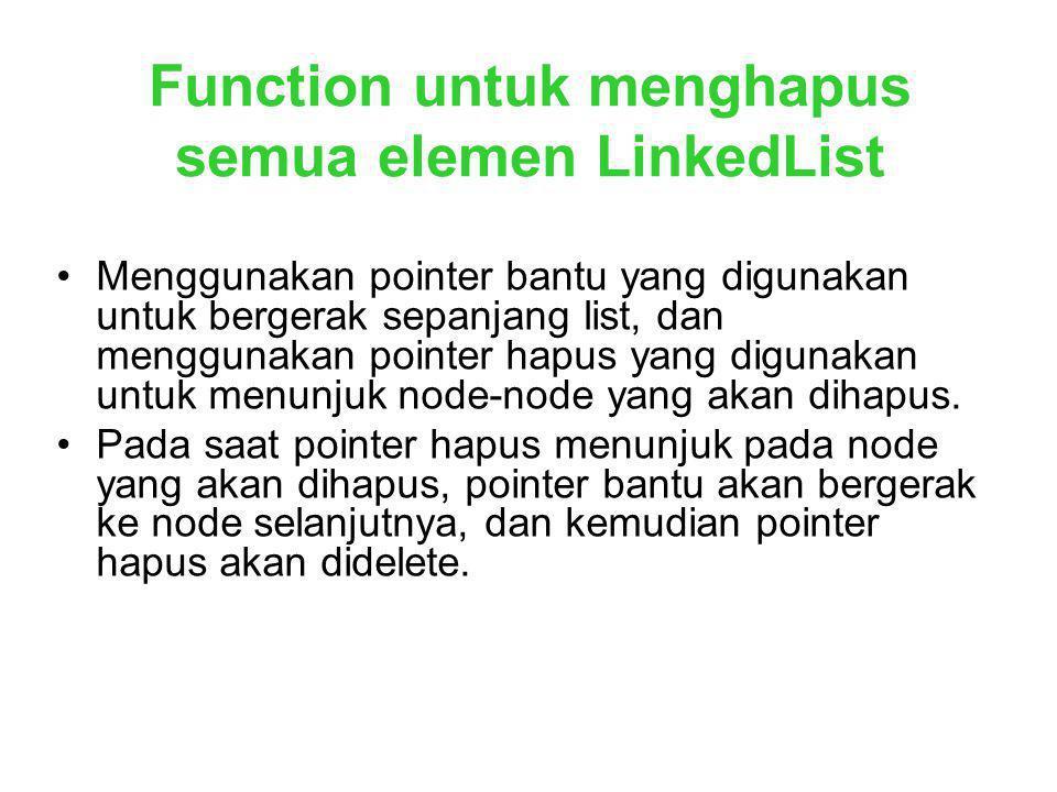 Function untuk menghapus semua elemen LinkedList Menggunakan pointer bantu yang digunakan untuk bergerak sepanjang list, dan menggunakan pointer hapus