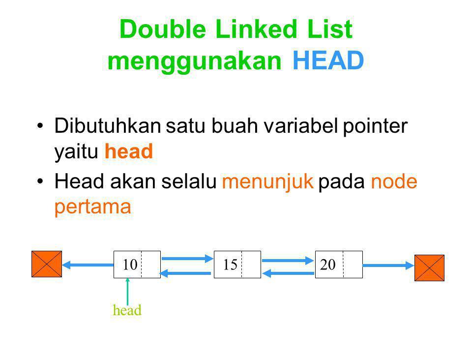 Double Linked List menggunakan HEAD Dibutuhkan satu buah variabel pointer yaitu head Head akan selalu menunjuk pada node pertama 10 1520 head