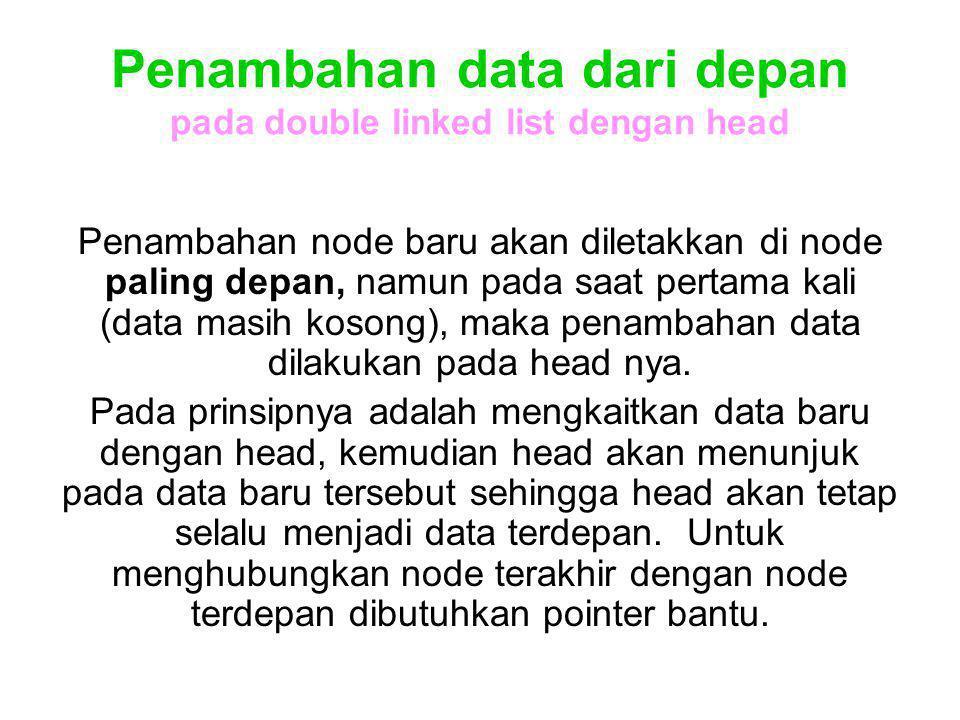Penambahan data dari depan pada double linked list dengan head Penambahan node baru akan diletakkan di node paling depan, namun pada saat pertama kali