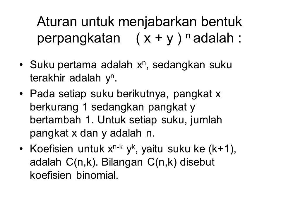 Aturan untuk menjabarkan bentuk perpangkatan ( x + y ) n adalah : Suku pertama adalah x n, sedangkan suku terakhir adalah y n. Pada setiap suku beriku