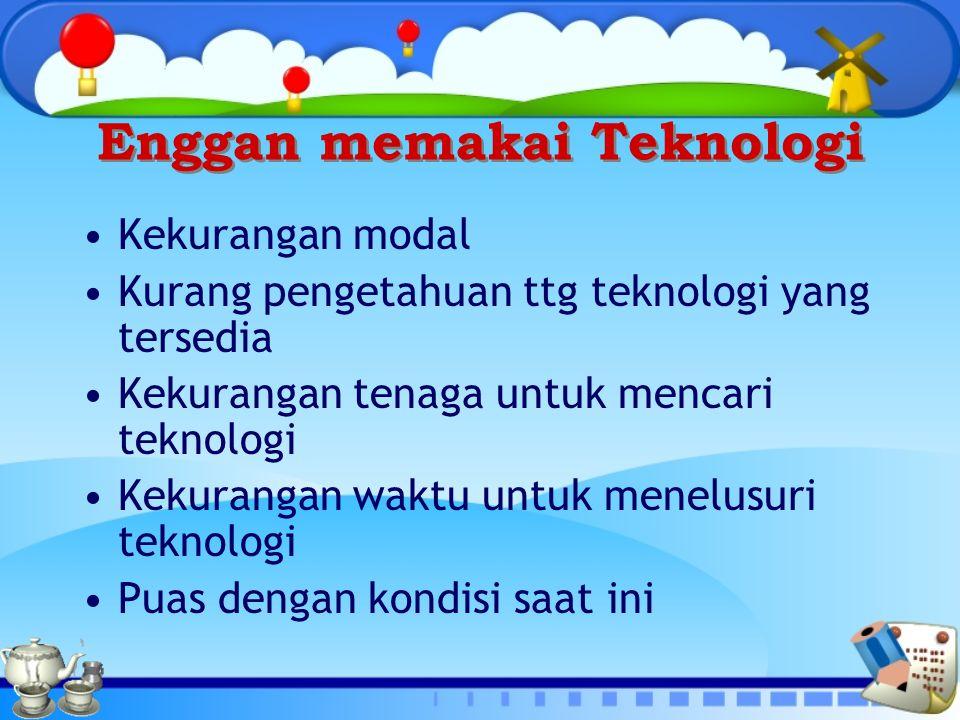 Enggan memakai Teknologi Kekurangan modal Kurang pengetahuan ttg teknologi yang tersedia Kekurangan tenaga untuk mencari teknologi Kekurangan waktu un