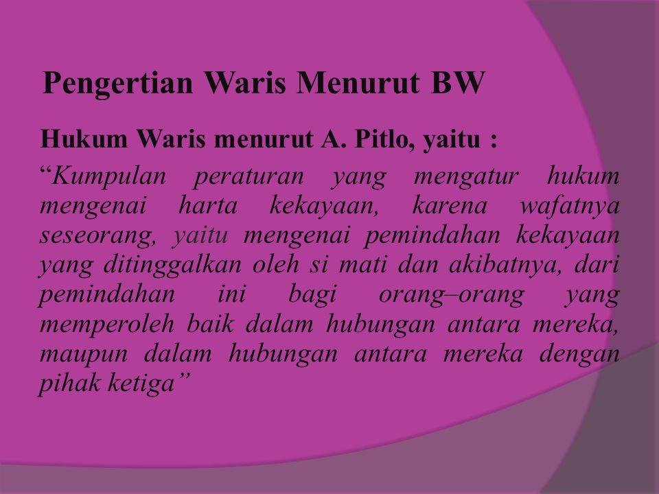 Pengertian Waris Menurut BW Hukum Waris menurut A.