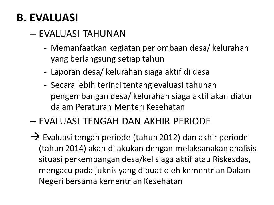 B. EVALUASI – EVALUASI TAHUNAN -Memanfaatkan kegiatan perlombaan desa/ kelurahan yang berlangsung setiap tahun -Laporan desa/ kelurahan siaga aktif di