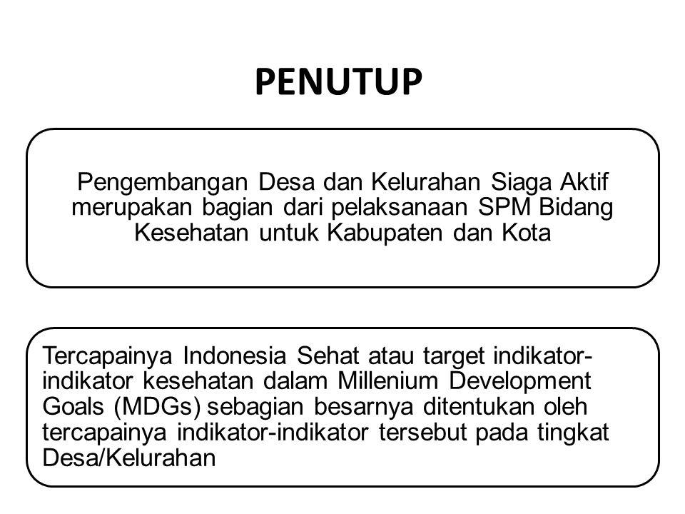 PENUTUP Pengembangan Desa dan Kelurahan Siaga Aktif merupakan bagian dari pelaksanaan SPM Bidang Kesehatan untuk Kabupaten dan Kota Tercapainya Indone