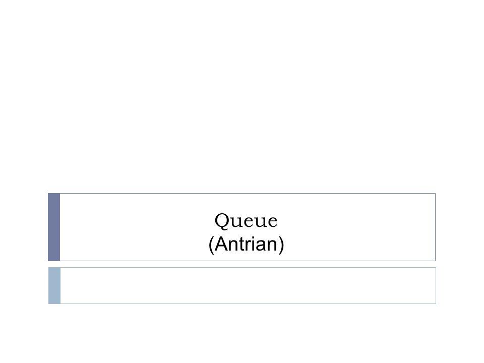 Queue (antrian)  Merupakan kumpulan data dimana penambahan data (elemen) hanya melalui satu sisi yaitu depan (head)  Penghapusan data (elemen) hanya melalui sisi belakang (tail)  Sifat ini disebut FIFO (first in first out)  Elemen yang pertama kali masuk ke dalam queue disebut elemen depan (front/head of queue), sedangkan elemen terakhir yang masuk disebut elemen belakang (rear/tail of queue)
