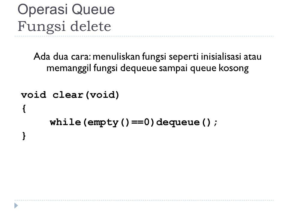 Operasi Queue Fungsi delete Ada dua cara: menuliskan fungsi seperti inisialisasi atau memanggil fungsi dequeue sampai queue kosong void clear(void) {