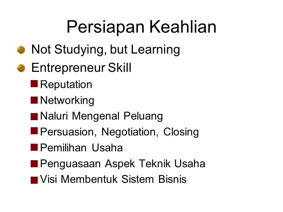 Persiapan Keahlian Not Studying, but Learning Entrepreneur Skill Reputation Networking Naluri Mengenal Peluang Persuasion, Negotiation, Closing Pemili