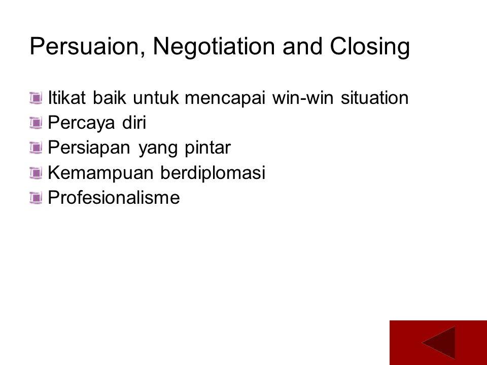 Persuaion, Negotiation and Closing Itikat baik untuk mencapai win-win situation Percaya diri Persiapan yang pintar Kemampuan berdiplomasi Profesionali