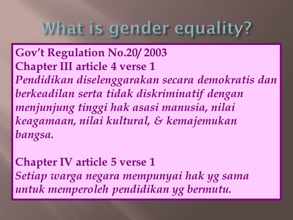 Gov't Regulation No.20/ 2003 Chapter III article 4 verse 1 Pendidikan diselenggarakan secara demokratis dan berkeadilan serta tidak diskriminatif deng