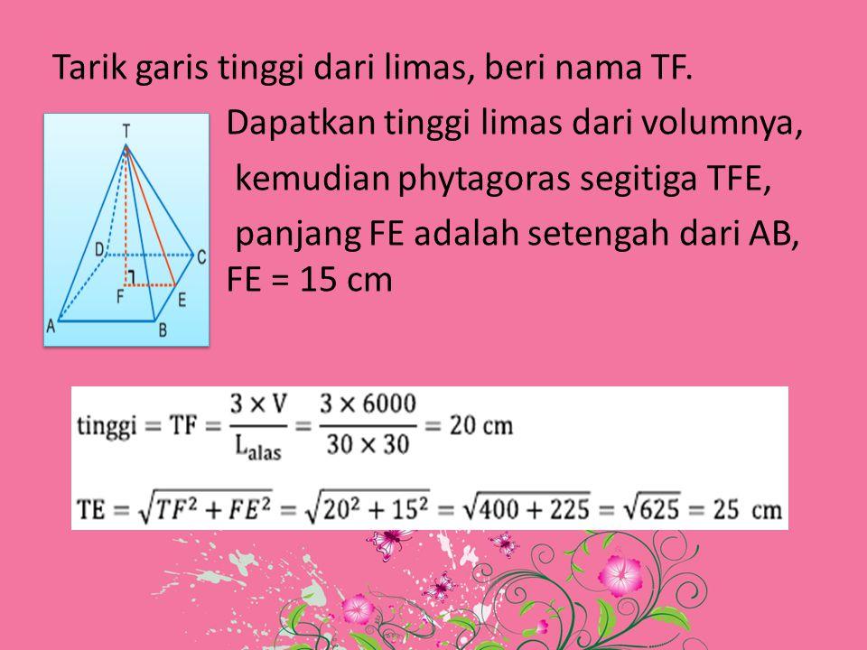Tarik garis tinggi dari limas, beri nama TF. Dapatkan tinggi limas dari volumnya, kemudian phytagoras segitiga TFE, panjang FE adalah setengah dari AB