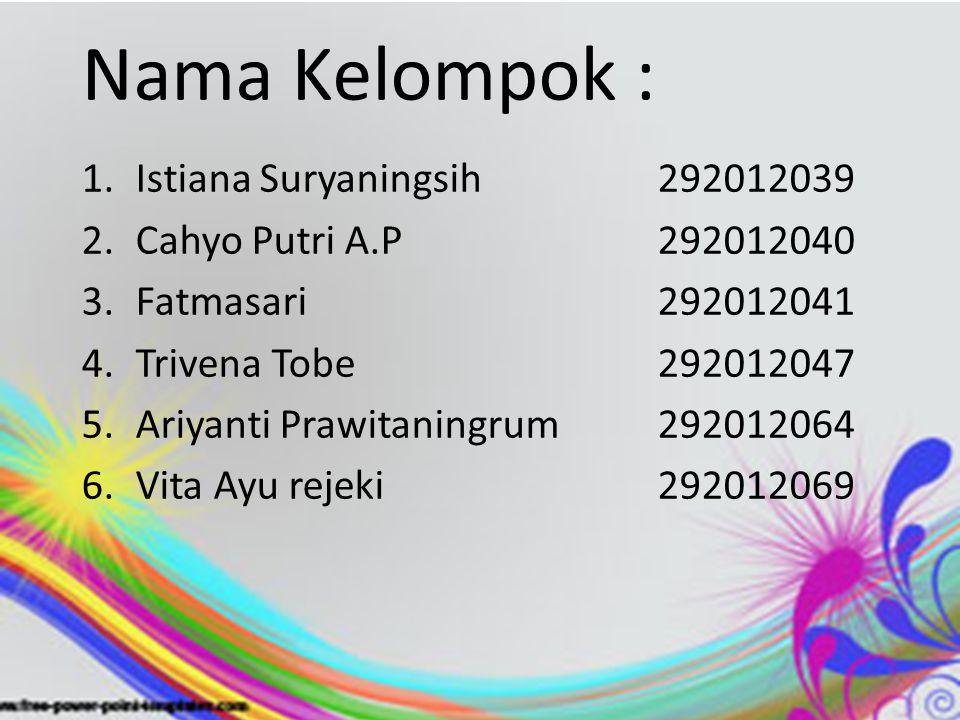 Nama Kelompok : 1.Istiana Suryaningsih292012039 2.Cahyo Putri A.P292012040 3.Fatmasari292012041 4.Trivena Tobe292012047 5.Ariyanti Prawitaningrum 292012064 6.Vita Ayu rejeki292012069