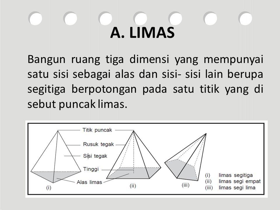 A. LIMAS Bangun ruang tiga dimensi yang mempunyai satu sisi sebagai alas dan sisi- sisi lain berupa segitiga berpotongan pada satu titik yang di sebut