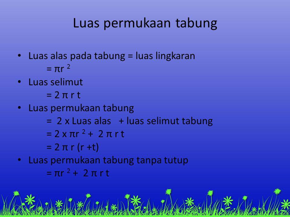 Luas permukaan tabung Luas alas pada tabung = luas lingkaran = πr 2 Luas selimut = 2 π r t Luas permukaan tabung = 2 x Luas alas + luas selimut tabung = 2 x πr 2 + 2 π r t = 2 π r (r +t) Luas permukaan tabung tanpa tutup = πr 2 + 2 π r t