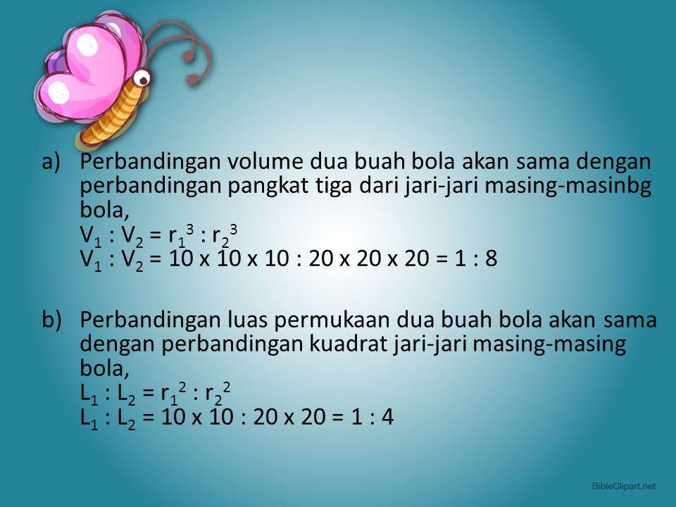 a)Perbandingan volume dua buah bola akan sama dengan perbandingan pangkat tiga dari jari-jari masing-masinbg bola, V 1 : V 2 = r 1 3 : r 2 3 V 1 : V 2 = 10 x 10 x 10 : 20 x 20 x 20 = 1 : 8 b) Perbandingan luas permukaan dua buah bola akan sama dengan perbandingan kuadrat jari-jari masing-masing bola, L 1 : L 2 = r 1 2 : r 2 2 L 1 : L 2 = 10 x 10 : 20 x 20 = 1 : 4