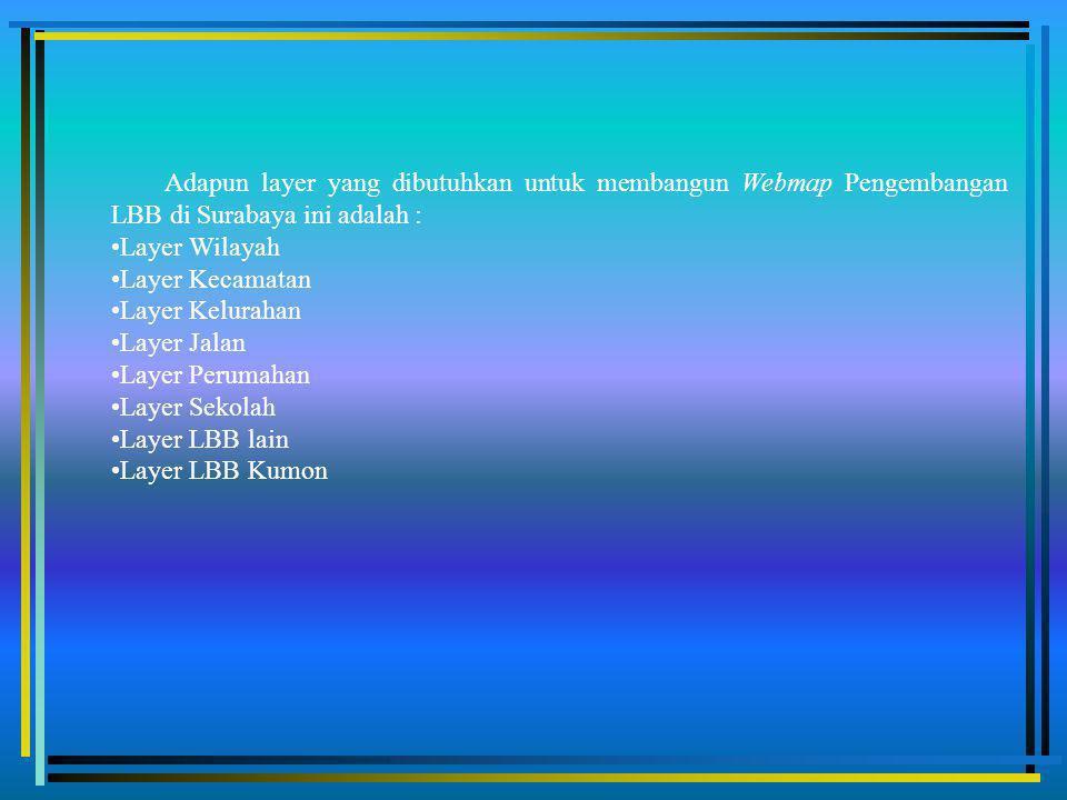 Adapun layer yang dibutuhkan untuk membangun Webmap Pengembangan LBB di Surabaya ini adalah : Layer Wilayah Layer Kecamatan Layer Kelurahan Layer Jalan Layer Perumahan Layer Sekolah Layer LBB lain Layer LBB Kumon