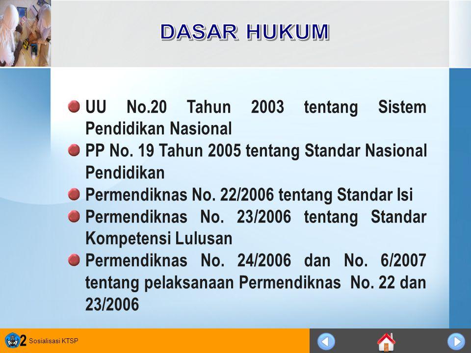 Sosialisasi KTSP 2 UU No.20 Tahun 2003 tentang Sistem Pendidikan Nasional PP No. 19 Tahun 2005 tentang Standar Nasional Pendidikan Permendiknas No. 22
