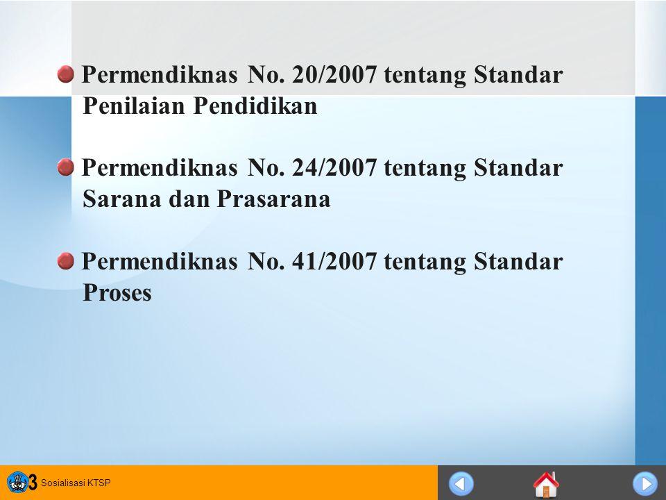 Sosialisasi KTSP 3 Permendiknas No. 20/2007 tentang Standar Penilaian Pendidikan Permendiknas No. 24/2007 tentang Standar Sarana dan Prasarana Permend