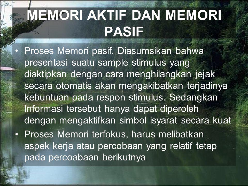 MEMORI AKTIF DAN MEMORI PASIF Proses Memori pasif, Diasumsikan bahwa presentasi suatu sample stimulus yang diaktipkan dengan cara menghilangkan jejak secara otomatis akan mengakibatkan terjadinya kebuntuan pada respon stimulus.