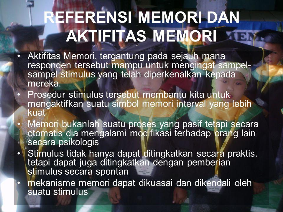 REFERENSI MEMORI DAN AKTIFITAS MEMORI Aktifitas Memori, tergantung pada sejauh mana responden tersebut mampu untuk mengingat sampel- sampel stimulus yang telah diperkenalkan kepada mereka.