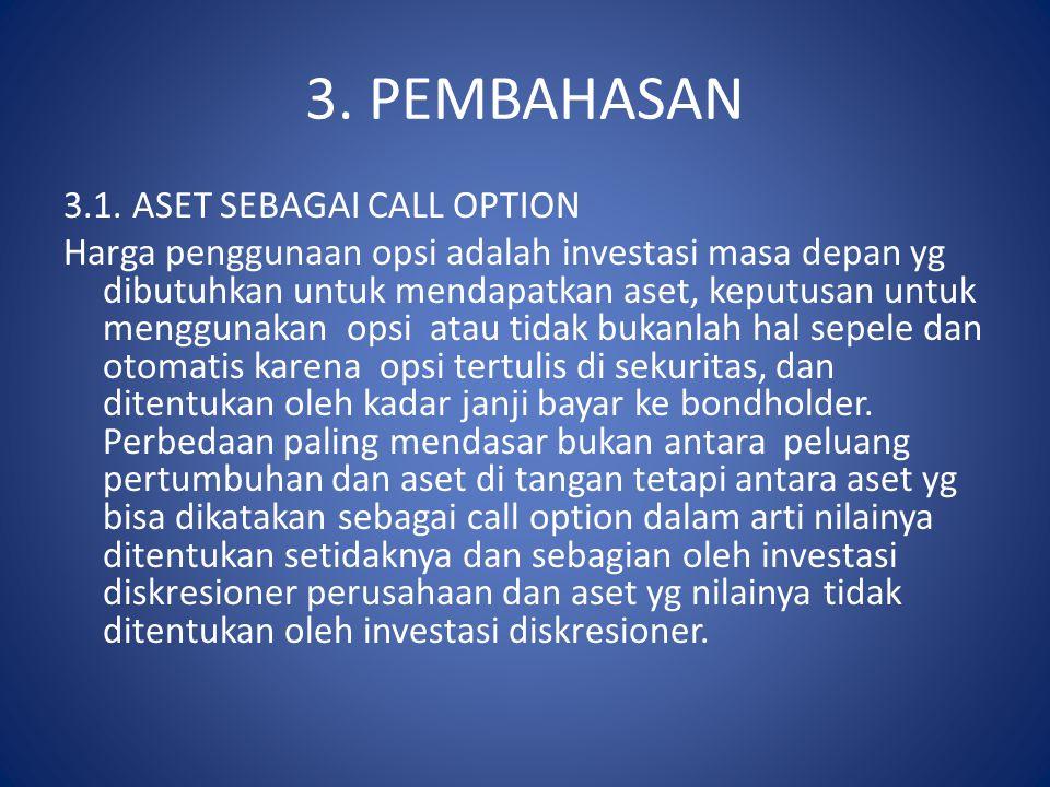 3. PEMBAHASAN 3.1. ASET SEBAGAI CALL OPTION Harga penggunaan opsi adalah investasi masa depan yg dibutuhkan untuk mendapatkan aset, keputusan untuk me