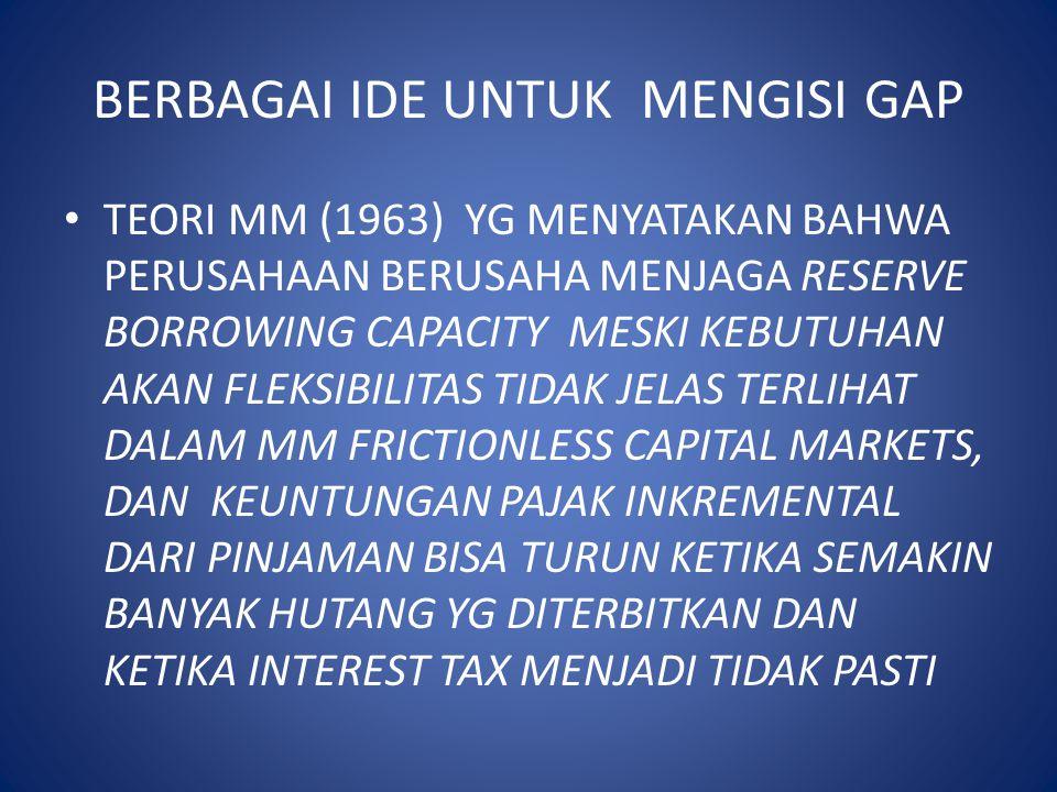 BERBAGAI IDE UNTUK MENGISI GAP TEORI MM (1963) YG MENYATAKAN BAHWA PERUSAHAAN BERUSAHA MENJAGA RESERVE BORROWING CAPACITY MESKI KEBUTUHAN AKAN FLEKSIB