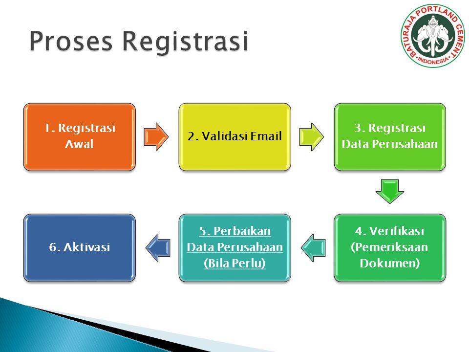 1. Registrasi Awal 2. Validasi Email 3. Registrasi Data Perusahaan 4. Verifikasi (Pemeriksaan Dokumen) 5. Perbaikan Data Perusahaan (Bila Perlu) 6. Ak