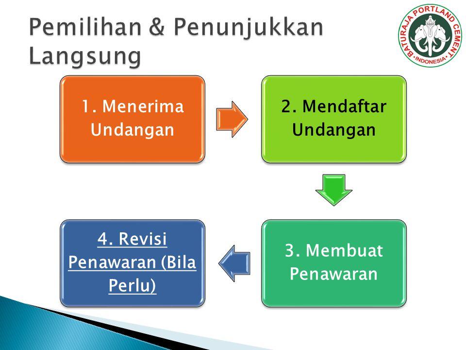 1. Menerima Undangan 2. Mendaftar Undangan 3. Membuat Penawaran 4. Revisi Penawaran (Bila Perlu)