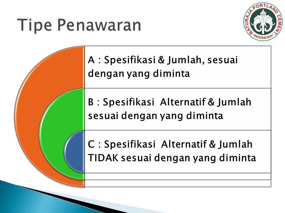 A : Spesifikasi & Jumlah, sesuai dengan yang diminta B : Spesifikasi Alternatif & Jumlah sesuai dengan yang diminta C : Spesifikasi Alternatif & Jumlah TIDAK sesuai dengan yang diminta