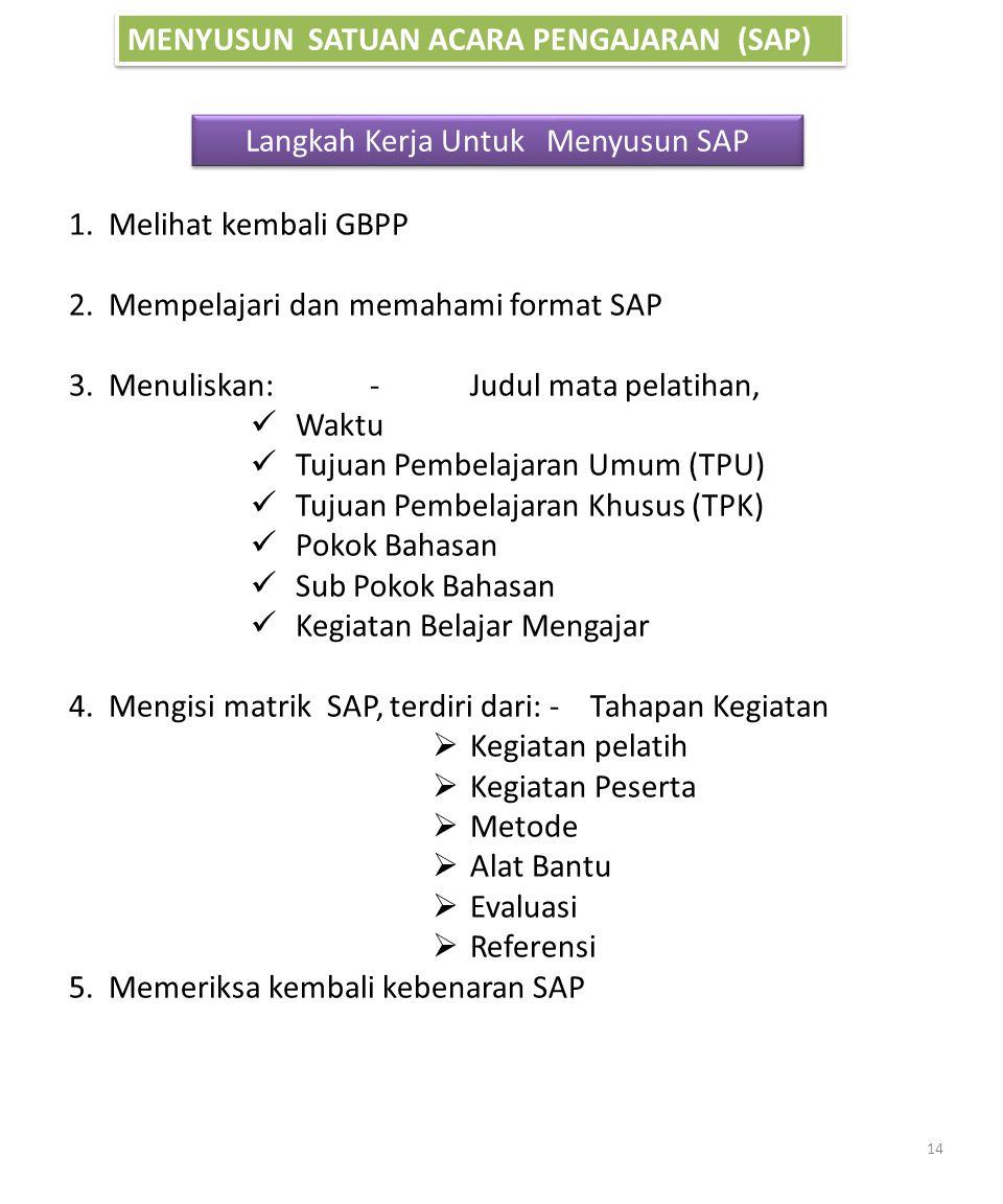 MENYUSUN SATUAN ACARA PENGAJARAN (SAP) Langkah Kerja Untuk Menyusun SAP 1. Melihat kembali GBPP 2. Mempelajari dan memahami format SAP 3. Menuliskan:-