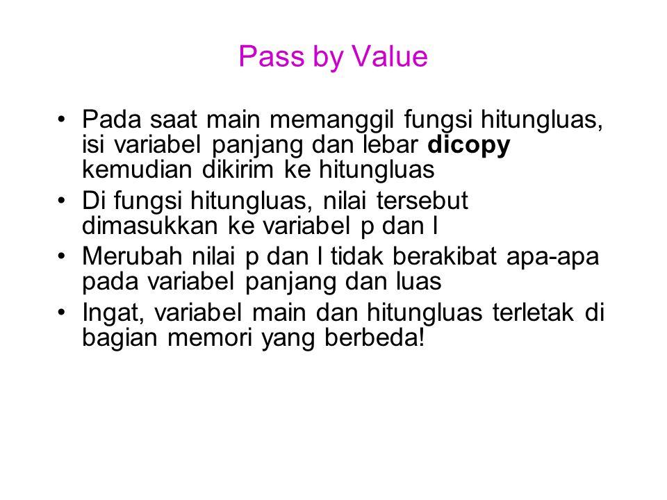 Pass by Value Pada saat main memanggil fungsi hitungluas, isi variabel panjang dan lebar dicopy kemudian dikirim ke hitungluas Di fungsi hitungluas, n