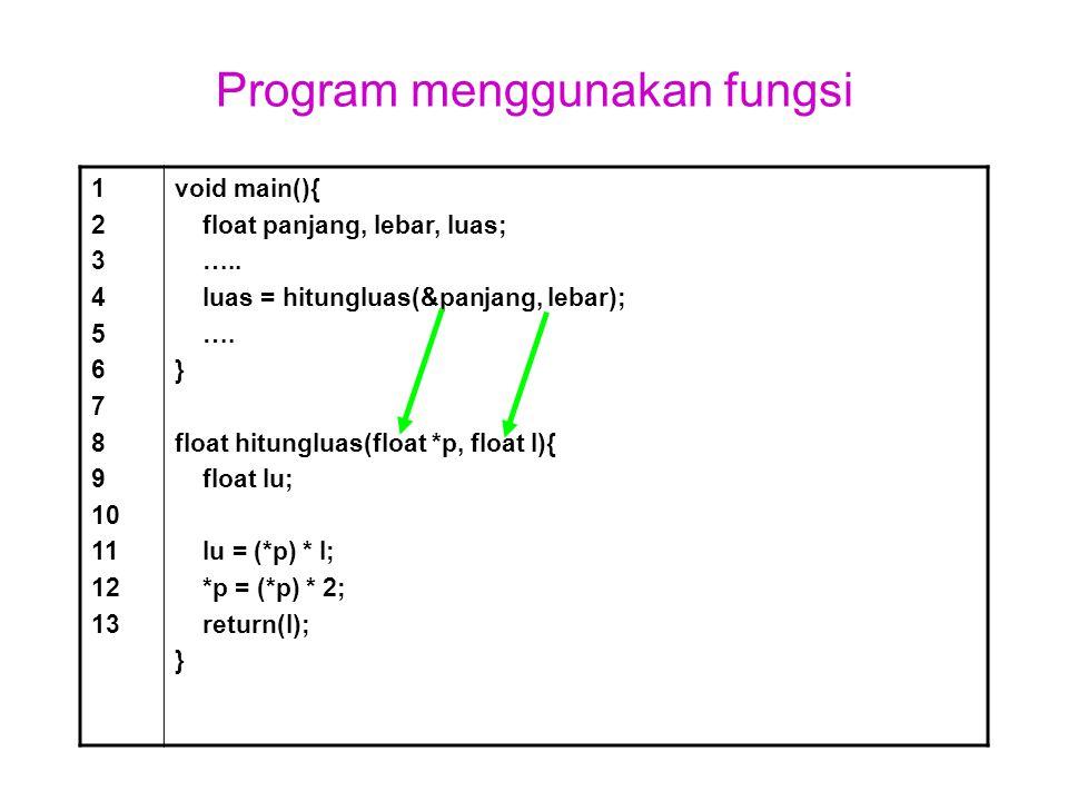 Program menggunakan fungsi 1 2 3 4 5 6 7 8 9 10 11 12 13 void main(){ float panjang, lebar, luas; ….. luas = hitungluas(&panjang, lebar); …. } float h