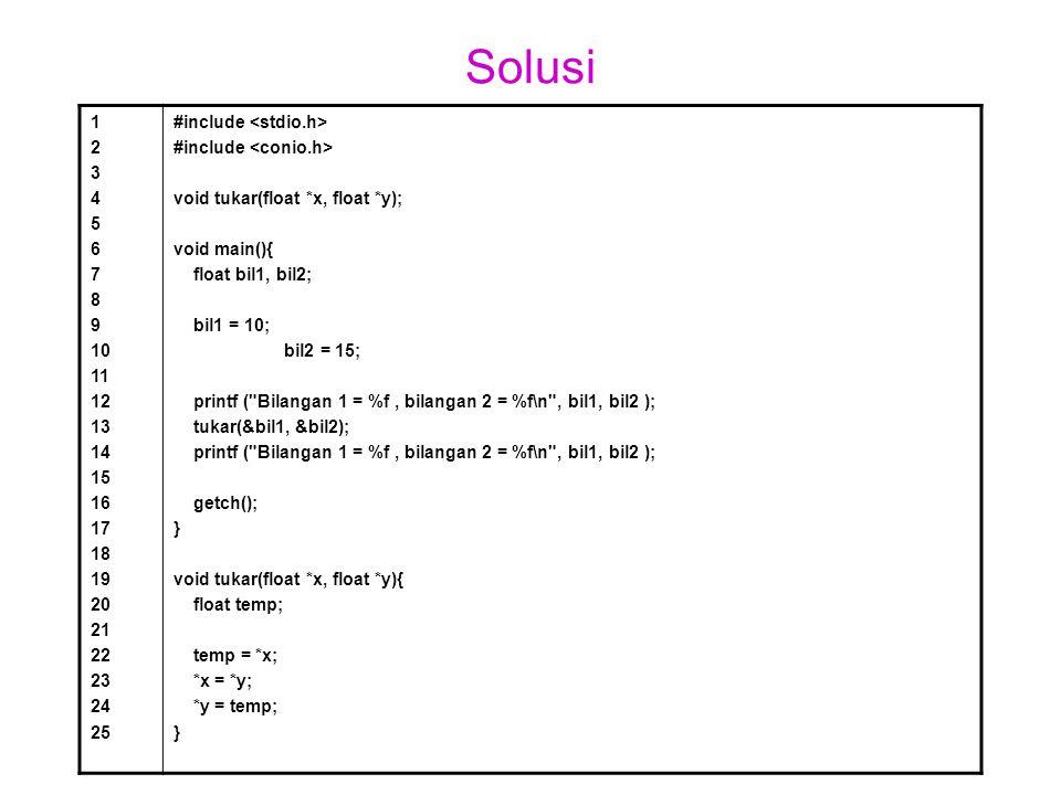 Solusi 1 2 3 4 5 6 7 8 9 10 11 12 13 14 15 16 17 18 19 20 21 22 23 24 25 #include void tukar(float *x, float *y); void main(){ float bil1, bil2; bil1