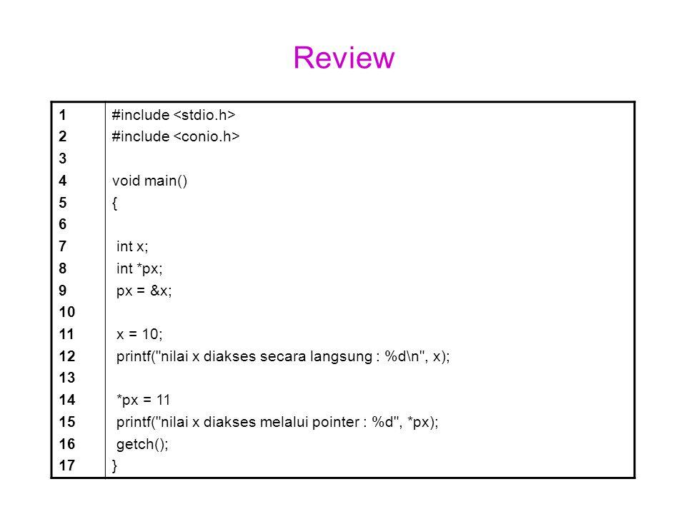 Program tanpa fungsi 1 2 3 4 5 6 7 8 9 10 11 12 13 14 #include void main(){ float panjang, lebar, luas; panjang = 10; lebar = 20 luas = panjang * lebar; printf ( Luas persegi = %f\n , luas ); getch(); }