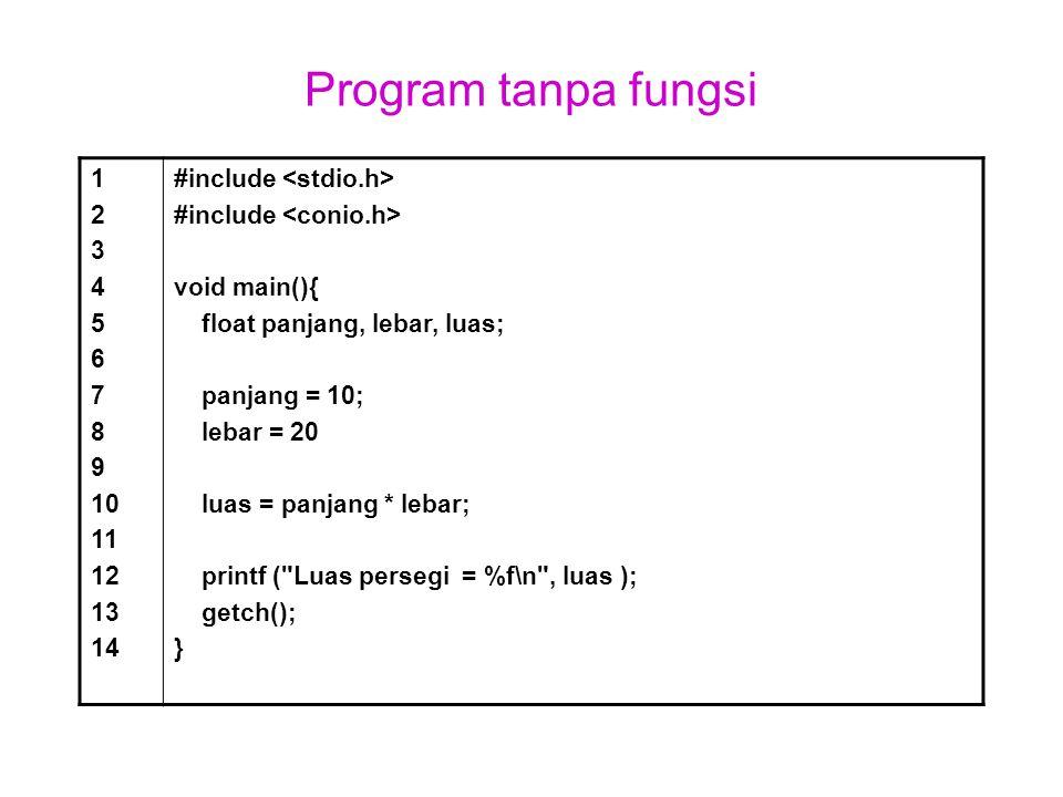 Program tanpa fungsi 1 2 3 4 5 6 7 8 9 10 11 12 13 14 #include void main(){ float panjang, lebar, luas; panjang = 10; lebar = 20 luas = panjang * leba