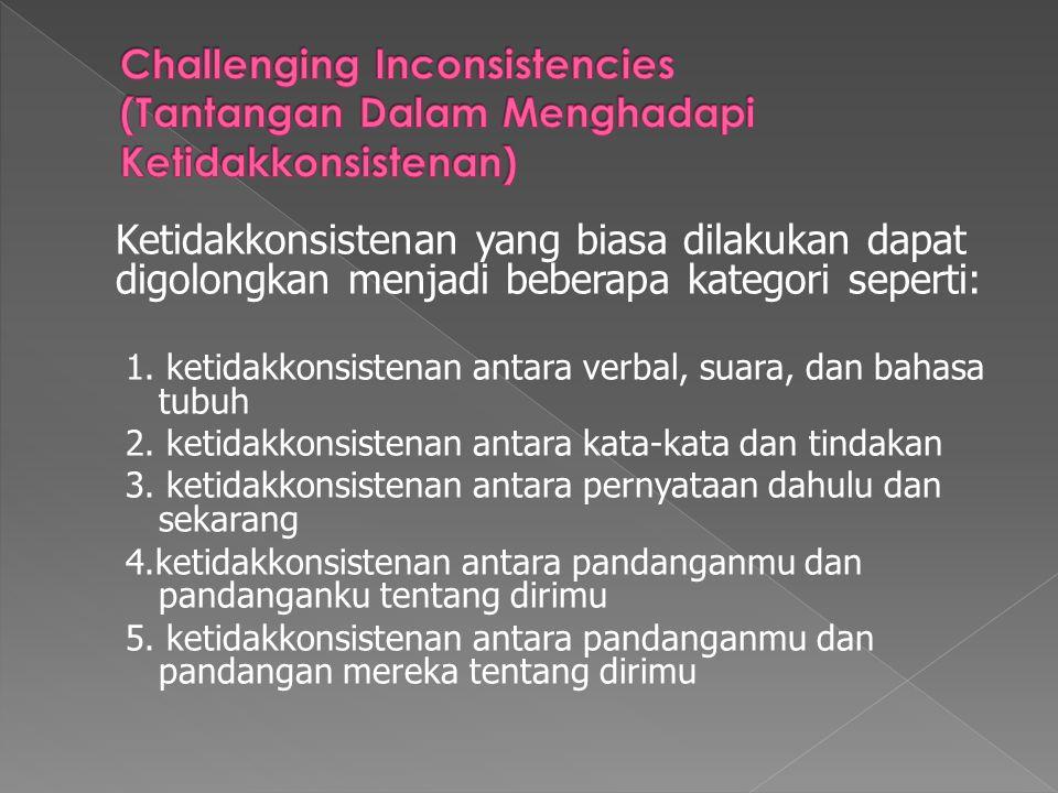 Ketidakkonsistenan yang biasa dilakukan dapat digolongkan menjadi beberapa kategori seperti: 1. ketidakkonsistenan antara verbal, suara, dan bahasa tu
